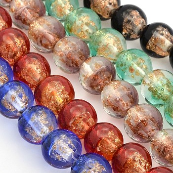 Mixed Color Handmade Two Tone Gold Sand Lampwork Round Beads Strands, Mixed Color, 12mm, Hole: 2mm; about 33pcs/strand, 15.7""
