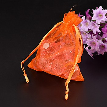 Orange Organza Gift Bags with Drawstring, Jewelry Pouches, Wedding Party Christmas Favor Gift Bags, Orange, Size: about 8cm wide, 10cm long
