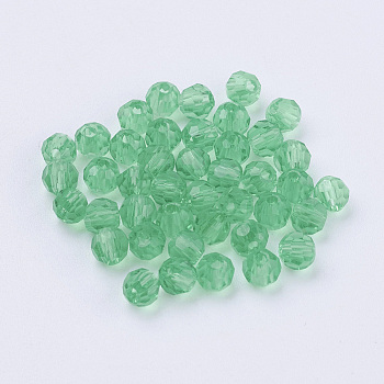 Green Imitation Austrian Crystal Beads, Grade AAA, Faceted, Round, Green, 4mm, Hole: 0.7~0.9mm
