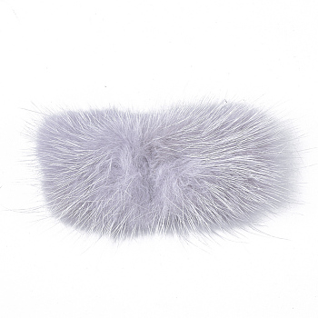 Light Grey Faux Mink Fur Rectangle Decoration, Pom Pom Ball, for DIY Bowknot Hair Accessories Craft, Light Grey, 8~8.5x3.7~4cm; about 21pcs/board