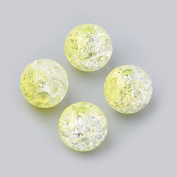 Yellow Acrylic Beads, Transparent Crackle Style, Round, Yellow, 8x7mm, Hole: 2mm; about 1840pcs/500g