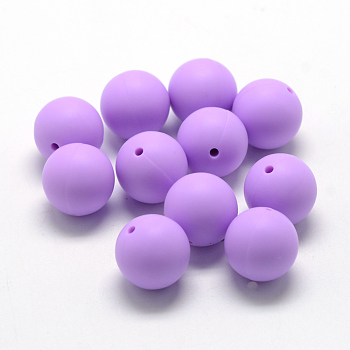 MediumPurple Food Grade Environmental Silicone Beads, Chewing Beads For Teethers, DIY Nursing Necklaces Making, Round, MediumPurple, 14~15mm, Hole: 2mm