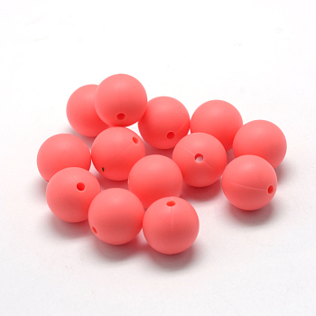 LightCoral Food Grade Environmental Silicone Beads, Chewing Beads For Teethers, DIY Nursing Necklaces Making, Round, LightCoral, 14~15mm, Hole: 2mm