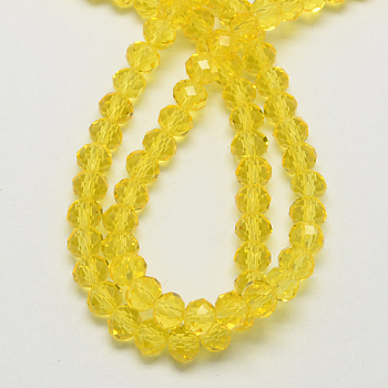 Yellow Handmade Glass Beads, Faceted Rondelle, Yellow, 6x4mm, Hole: 1mm; about 90~93pcs/strand