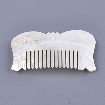 Seashell Color Freshwater Shell Combs, Fish, Seashell Color, 110~112x61~62x4~5mm