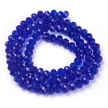 Dark Blue Handmade Glass Beads, Faceted Rondelle, Dark Blue, 6x4mm, Hole: 1mm; about 90~93pcs/strand
