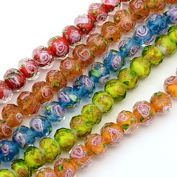 Mixed Color Handmade Gold Sand Lampwork Rondelle Beads Strands, Faceted, Mixed Color, 10x7mm, Hole: 2mm; about 50pcs/strand, 13.77""