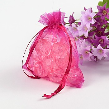 Fuchsia Organza Gift Bags with Drawstring, Jewelry Pouches, Wedding Party Christmas Favor Gift Bags, Fuchsia, Size: about 8cm wide, 10cm long