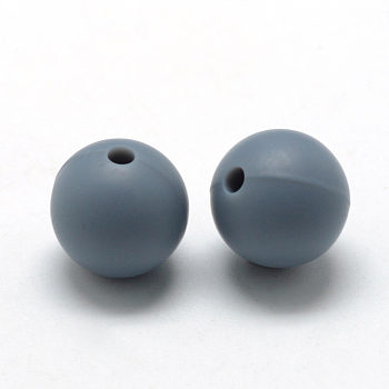SlateGray Food Grade Environmental Silicone Beads, Chewing Beads For Teethers, DIY Nursing Necklaces Making, Round, SlateGray, 14~15mm, Hole: 2mm