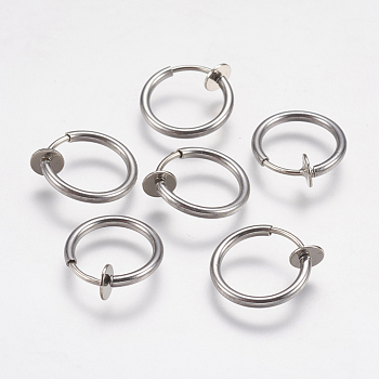 Stainless Steel Color 304 Stainless Steel Retractable Clip-on Hoop Earrings, Hypoallergenic Earrings, For Non-pierced Ears, with Spring Findings, Stainless Steel Color, 13x4.5mm; Inner Diameter: 10mm