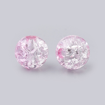 Pink Acrylic Beads, Transparent Crackle Style, Round, Pink, 8x7mm, Hole: 2mm; about 1840pcs/500g