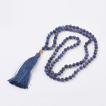 Sodalite Natural Sodalite Buddha Pendant Necklaces, with Alloy Findings and Nylon Tassels, Frosted, 109 Beads, 39.3 inches (100cm), Pendant: 115mm long