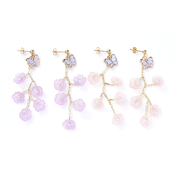 Mixed Color Acrylic Dangle Stud Earring Sets, with Glass Seed Beads, Butterfly Alloy Enamel Charms and Cardboard Boxes, Flower, Mixed Color, 66mm, Pin: 0.8mm; 2pairs/set