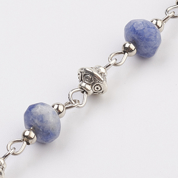 Blue Spot Jasper Natural Blue Spot Jasper Beads Handmade Chains, Unwelded, with Iron Spacer Bead, Tibetan Style Bead, Iron Eye Pin, Faceted, 17x7.5mm; 39.37 inches(1m)/strand