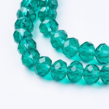 Sea Green Handmade Glass Beads, Faceted Rondelle, Sea Green, 6x4mm, Hole: 1mm; about 90~93pcs/strand