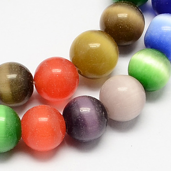 Mixed Color Cat Eye Beads Strands, Round, Mixed Color, 12mm, Hole: 1.5mm; about 33pcs/strand, 14.5 inches