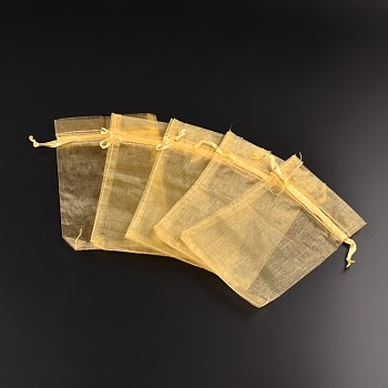 Gold Organza Bags, Rectangle, Gold, about 10cm wide, 15cm long