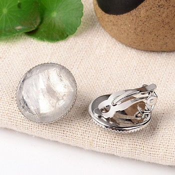 Quartz Crystal Natural Crystal Dome/Half Round Clip-on Earrings, with Platinum Plated Brass Findings, 21mm