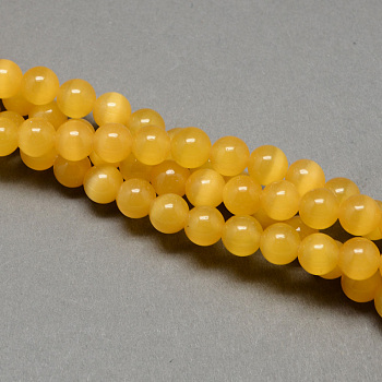 Goldenrod Cat Eye Beads Strands, Round, Goldenrod, 12mm, Hole: 1.5mm; about 33pcs/strand, 14.5 inches