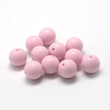 Pink Food Grade Environmental Silicone Beads, Chewing Beads For Teethers, DIY Nursing Necklaces Making, Round, Pink, 14~15mm, Hole: 2mm