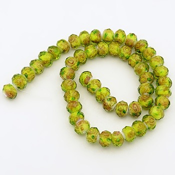 Yellow Handmade Gold Sand Lampwork Rondelle Beads Strands, Faceted, Yellow, 10x7mm, Hole: 2mm; about 50pcs/strand, 13.77""
