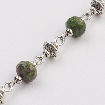 Ruby in Zoisite Natural Ruby in Zoisite Beads Handmade Chains, Unwelded, with Iron Spacer Bead, Tibetan Style Bead, Iron Eye Pin, Faceted, 17x7.5mm; 39.37 inches(1m)/strand