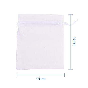 White Organza Bags, Rectangle, White, about 10cm wide, 15cm long