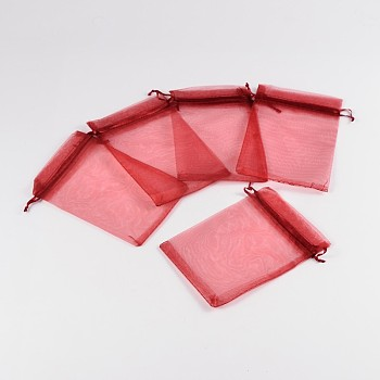 DarkRed Organza Bags, Mother's Day Bags, Rectangle, DarkRed, about 10cm wide, 15cm long