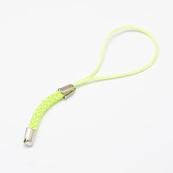 Green Yellow Nylon Cord Mobile Straps, with Iron Findings, Green Yellow, 85x4mm, Hole: 1.5mm