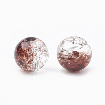 Sienna Acrylic Beads, Transparent Crackle Style, Round, Sienna, 8x7mm, Hole: 2mm; about 1840pcs/500g