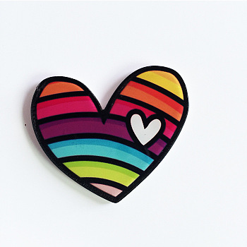 Colorful Acrylic Safety Brooches, with Iron Pin, Heart, Colorful, 33.5x40.5x8.5mm; Pin: 0.7mm