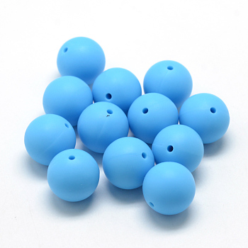 DeepSkyBlue Food Grade Environmental Silicone Beads, Chewing Beads For Teethers, DIY Nursing Necklaces Making, Round, DeepSkyBlue, 14~15mm, Hole: 2mm