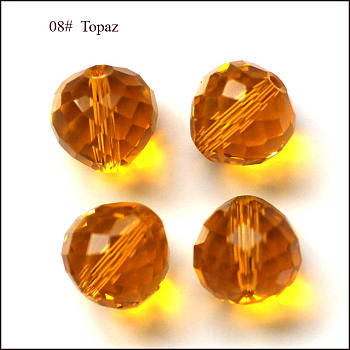 Orange Imitation Austrian Crystal Beads, Grade AAA, Faceted, Teardrop, Orange, 6mm, Hole: 0.7~0.9mm