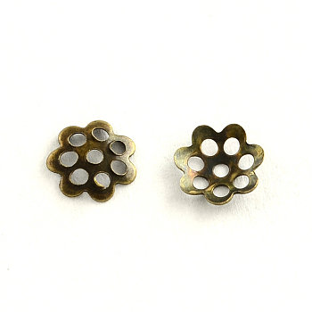 Mixed Color Iron Bead Caps, 3 Color, Mixed Color, 5~6x1~1.5mm, Hole: 1mm; about 200pcs/compartemnt, 1200pcs/box