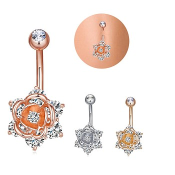 Mixed Color Brass Piercing Jewelry, Belly Rings, with Cubic Zirconia, Mixed Shapes, Mixed Color, 30mm; pin: 1.5mm; 3pcs/set