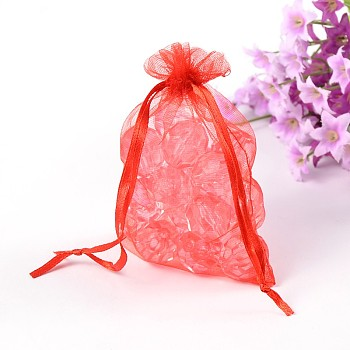 Red Organza Gift Bags with Drawstring, Jewelry Pouches, Wedding Party Christmas Favor Gift Bags, Red, Size: about 8cm wide, 10cm long