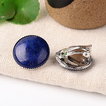 Lapis Lazuli Natural Lapis Lazuli Dome/Half Round Clip-on Earrings, with Platinum Plated Brass Findings, 21mm