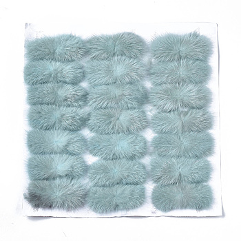 Aqua Faux Mink Fur Rectangle Decoration, Pom Pom Ball, for DIY Bowknot Hair Accessories Craft, Aqua, 8~8.5x3.7~4cm; about 21pcs/board