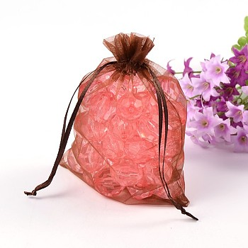 Chocolate Organza Bags, Rectangle, Chocolate, about 10cm wide, 15cm long