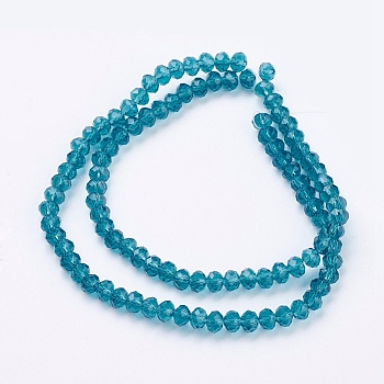 Dark Cyan Handmade Glass Beads, Faceted Rondelle, Dark Cyan, 6x4mm, Hole: 1mm; about 90~93pcs/strand