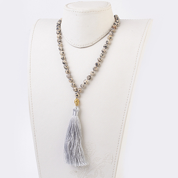 Jasper Natural Dalmatian Jasper Buddha Pendant Necklaces, with Alloy Findings and Nylon Tassels, Frosted, 109 Beads, 39.3 inches (100cm), Pendant: 115mm long