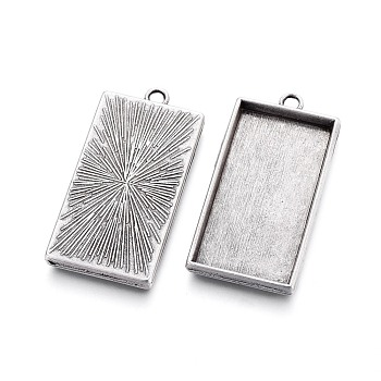 Thai Sterling Silver Plated Alloy Pendant Cabochon Settings, Plain Edge Bezel Cups, Lead Free & Nickel Free & Cadmium Free, Rectangle, Thai Sterling Silver Plated, Tray: 40x21mm; 48x24x4mm, Hole: 3.5mm