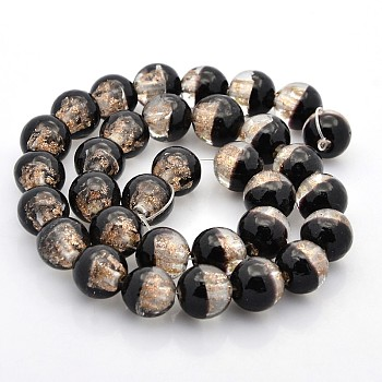 Black Handmade Two Tone Gold Sand Lampwork Round Beads Strands, Black, 12mm, Hole: 2mm; about 33pcs/strand, 15.7""