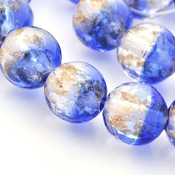 RoyalBlue Handmade Two Tone Gold Sand Lampwork Round Beads Strands, RoyalBlue, 12mm, Hole: 2mm; about 33pcs/strand, 15.7""
