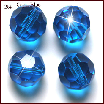Dodger Blue Imitation Austrian Crystal Beads, Grade AAA, Faceted, Round, Dodger Blue, 4mm, Hole: 0.7~0.9mm