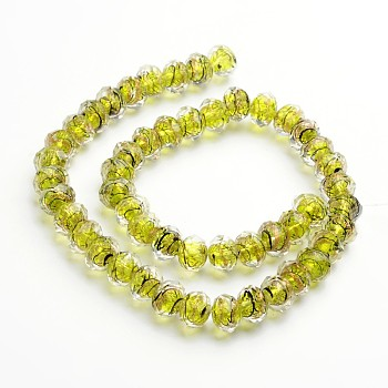 GreenYellow Handmade Gold Sand Lampwork Rondelle Beads Strands, Faceted, GreenYellow, 12x9mm, Hole: 1mm; 40pcs/strand, 15.4""