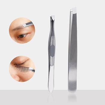 Stainless Steel Color Stainless Steel Eyebrow Tweezers, Makeup Tools, Stainless Steel Color, 8.8cm