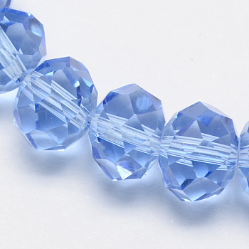 Cornflower Blue Handmade Glass Beads, Faceted Rondelle, Cornflower Blue, 6x4mm, Hole: 1mm; about 90~93pcs/strand
