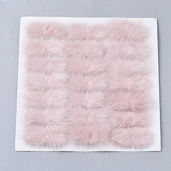 Pink Faux Mink Fur Rectangle Decoration, Pom Pom Ball, for DIY Bowknot Hair Accessories Craft, Pink, 8~8.5x3.7~4cm; about 21pcs/board