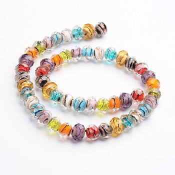 Mixed Color Handmade Gold Sand Lampwork Rondelle Beads Strands, Faceted, Mixed Color, 12x9mm, Hole: 1mm; 40pcs/strand, 15.4""
